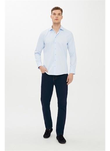 Kiğılı Uzun Kol Desenli Slim Fit Gömlek Mavi